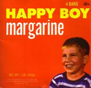 Scanned image of the Happy Boy margarine box.
